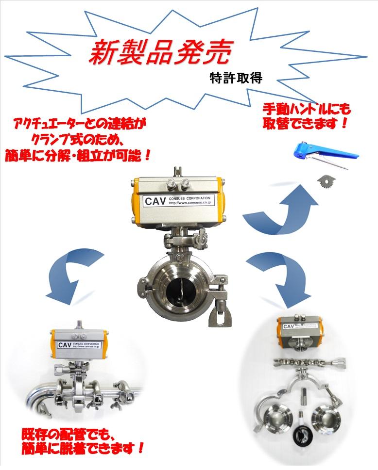 新製品 アクチュエーター付分割式サニタリーバタフライバルブ CBED-CAV